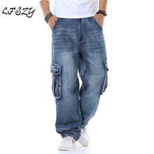 New Japan Style Brand Mens Straight Denim Cargo Pants Biker Jeans Men Baggy Loose Blue Jeans With Side Pockets Plus Size 40 46 new style brand jeans for men jeans straigh regular fit denim jeans pants classic blue colour size 28 to 38
