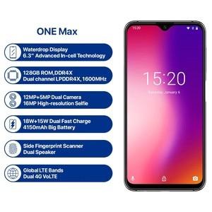 Image 2 - UMIDIGI One Max, глобальная версия, 4 Гб, 128 ГБ, 6,3 дюйма, полноэкранный, 4150 мА/ч, две sim карты, для распознавания лица, смартфон, NFC, Беспроводная зарядка