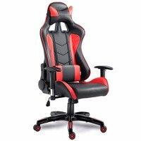 Goplus высокой спинкой, исполнительный гонки лежащего игровой вращающееся кресло из искусственной кожи стул офисный компьютер Эргономичный и
