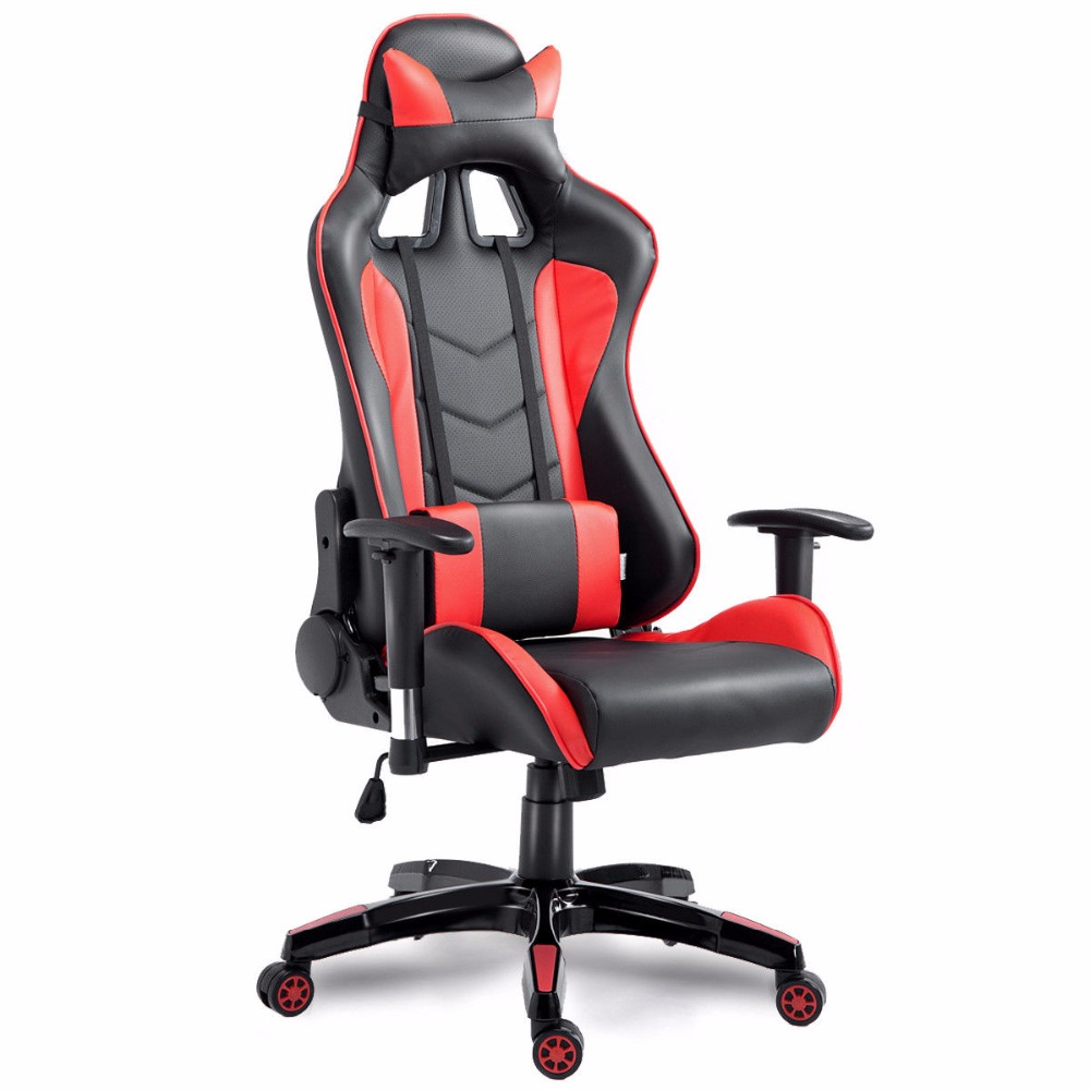 Goplus High Back Executive Racing Reclining Gaming Chair Swivel PU Leather Office Computer Chair Ergonomic Game Chairs HW53863 240340 high quality back pillow office chair 3d handrail function computer household ergonomic chair 360 degree rotating seat
