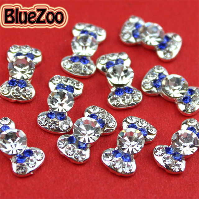 BlueZoo 10pcs/pack 3D Blue Alloy Rhinestones Bow Tie Nail Art Decorations Glitters Slices DIY