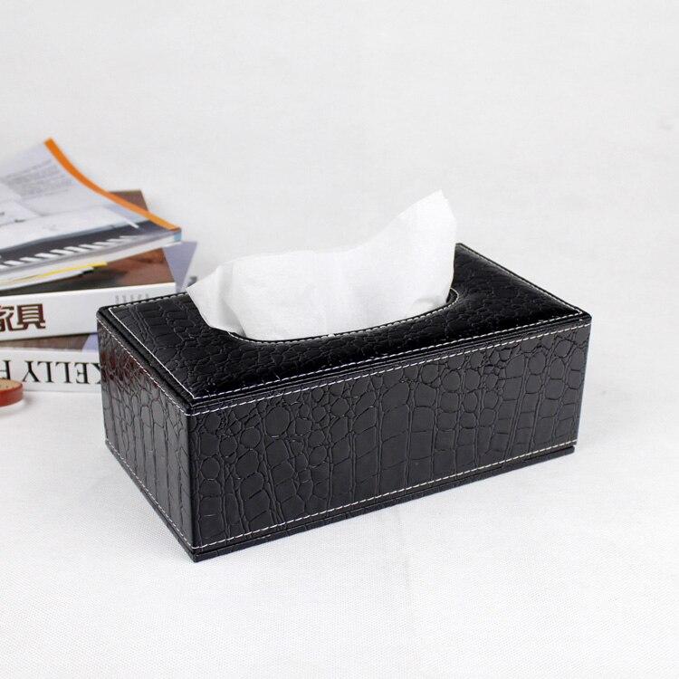 magnetic lock wooden struction leather rectangle tissue box holder napkin box toilet paper. Black Bedroom Furniture Sets. Home Design Ideas