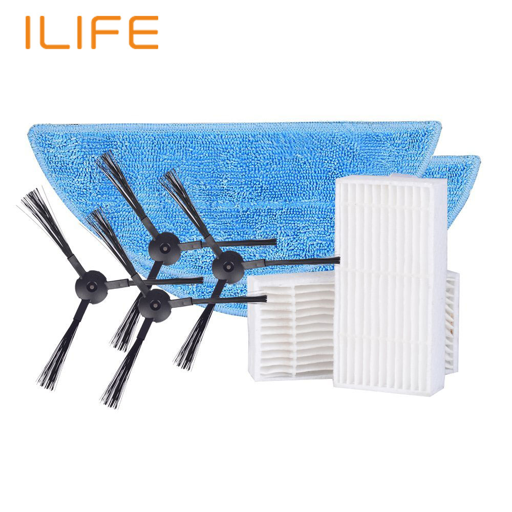 ILIFE V3S V5 V5S X5  Robot Vacuum Cleaner Parts Spare Replacement Kits Cleaning Robot Vacuum Filter Side Brushes original ilife v5 mop for robot vacuum cleaner ilife model 2016 new spare parts replacement from factory 1 pc free shipping