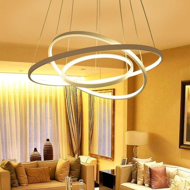 New LED art ring chandelier 3/2/1 ring aluminum ring acrylic chandelier LED home commercial energy-efficient lighting AC90-260V