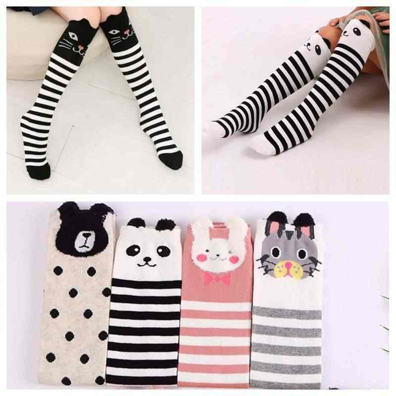 72ab3f219 Cute Cartoon Children Socks Baby Girls Knee High Socks Cat Panda Rabbit  Print Long Over Knee