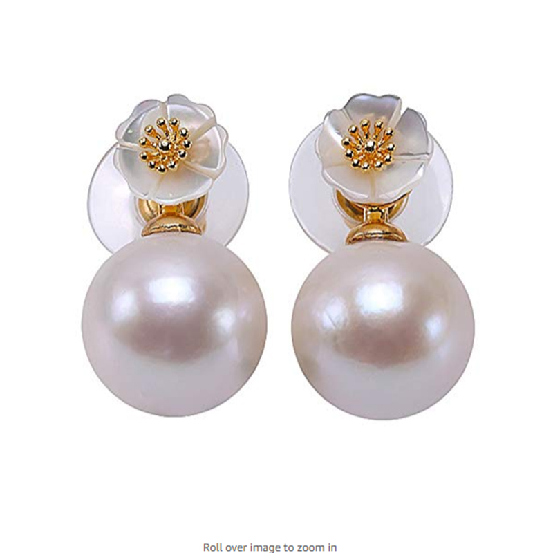 JYX Big Pearl Stud Earrings for women 13mm White Round Freshwater Edison Pearl Earring Edison jewelry gift Sterling Silver