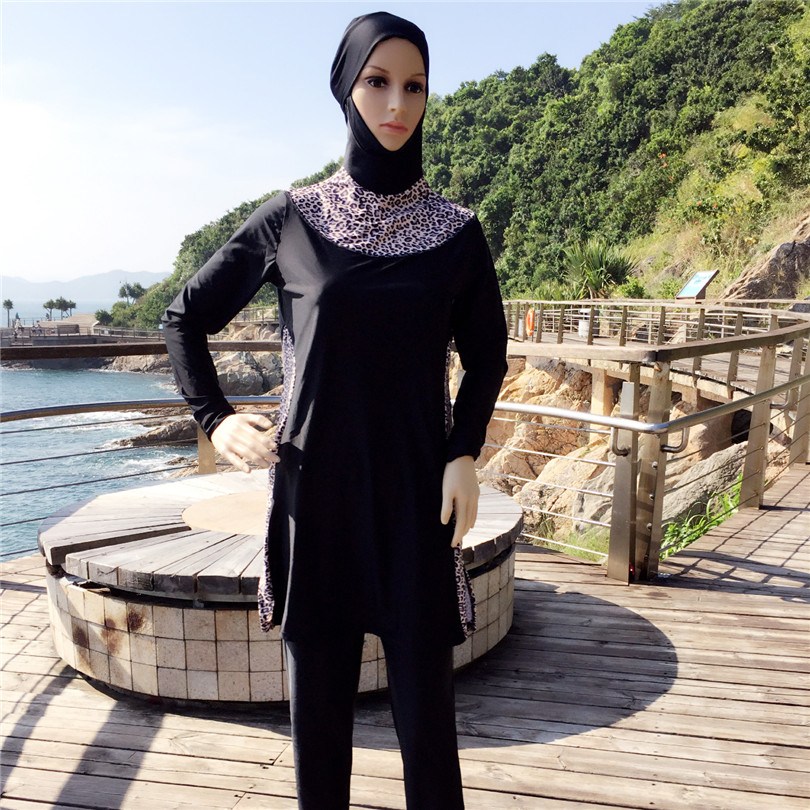 Sexy Leopard Islamic Swimsuit Black Full Cover Modest -4807