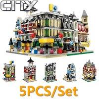 5ピース/セットdecool消防署カフェストリートビュービルディングブロックレンガmocのおもちゃと互換性legoe市ninjago