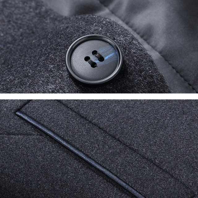 Holyrising Men Wool Coats Casaco Masculino Inverno Single Button Mens Overcoat Windproof Men Cloths Slim Coats For Men 18519-5 4
