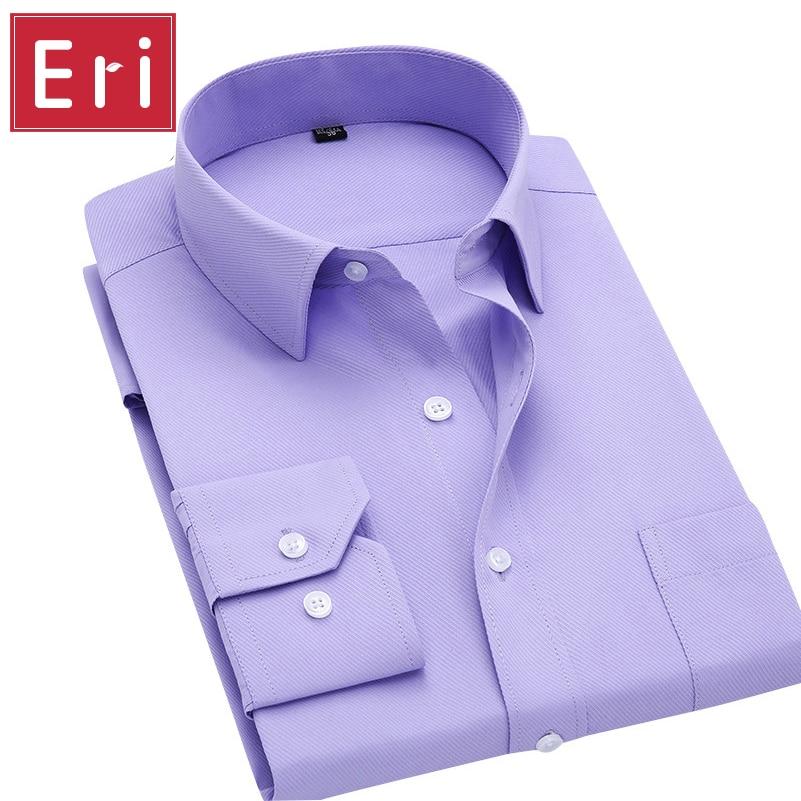 Long Sleeve Shirt Men 2017 Autumn New Fashion Designer High Quality Solid Shirt Non Iron Slim