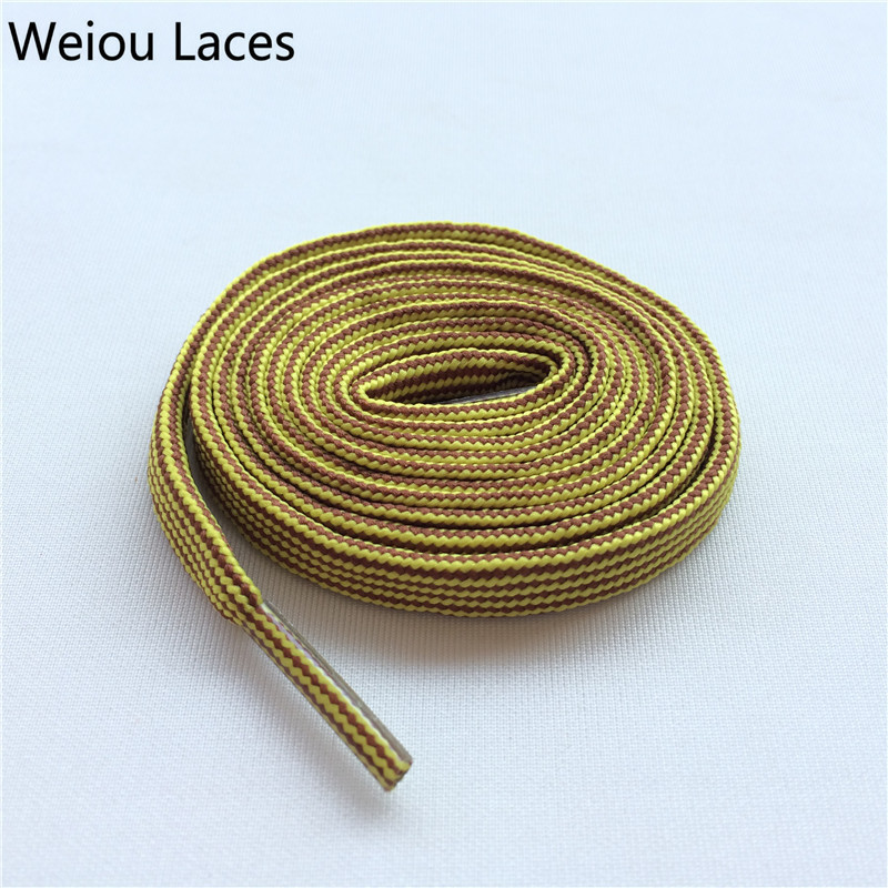 Weiou Heavy Duty Bright Colored Shoe Laces Flat Type Yellow Brown Hiking BootLaces Cool Quality Shoelace For Sales Free Shipping