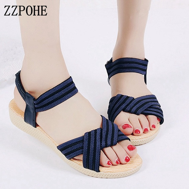 ZZPOHE Woman Shoes 2018 Summer New Fashion Bohemia Women s Flats Casual  Sandals Female Comfortable Flip Flops Beach Sandals ca2e412b23a7