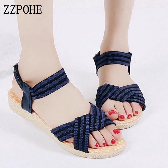 30b26830e1223 ZZPOHE Woman Shoes 2018 Summer New Fashion Bohemia Women s Flats Casual  Sandals Female Comfortable Flip Flops Beach Sandals