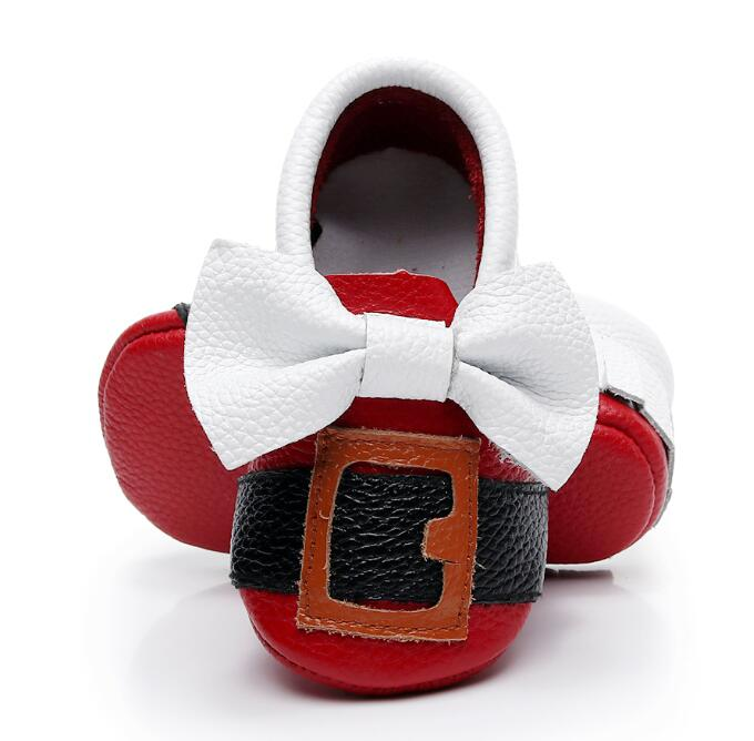 New genuine cow leather baby shoes santa button baby moccasins cute white bow red bottom shoes first walker Christmas gift