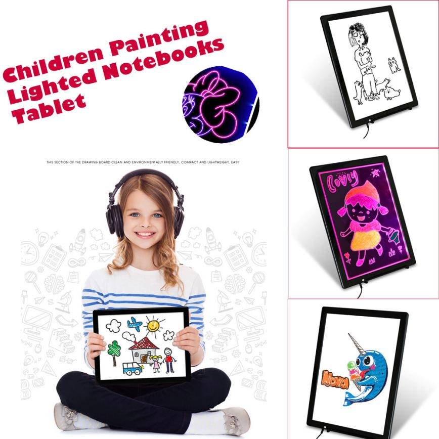 14 Inch Children Painting Lighted Notebooks font b Tablet b font ABS Writing Graphics Board Z1102