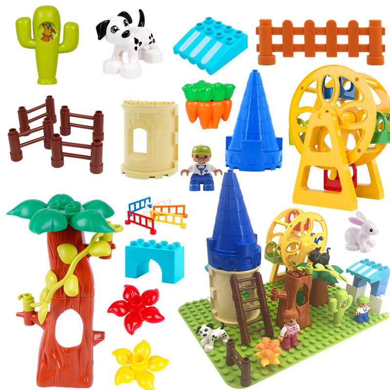 DIY Original Assembly Big Building Blocks Bricks Tree Castle Dog Slide Ladder Accessories Compatible Duploe Baby Toys Sets Gifts