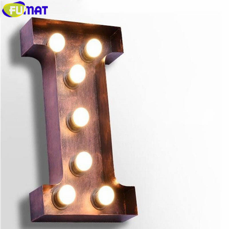 FUMAT Letters I Wall Lamps Vintage Wall Sconce Creative Simple Art Deco Company Logo Wall Lights Living Room Light Fitting E27