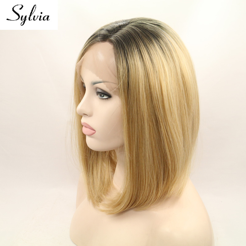 Sylvia Mixed Blonde Ombre Bob Hairstyle Synthetic Lace Front Wigs
