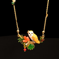 Les Nereides Flowers Green Gem Owl Necklace For Women Enamel Gold Plated Copper Short Necklaces Good