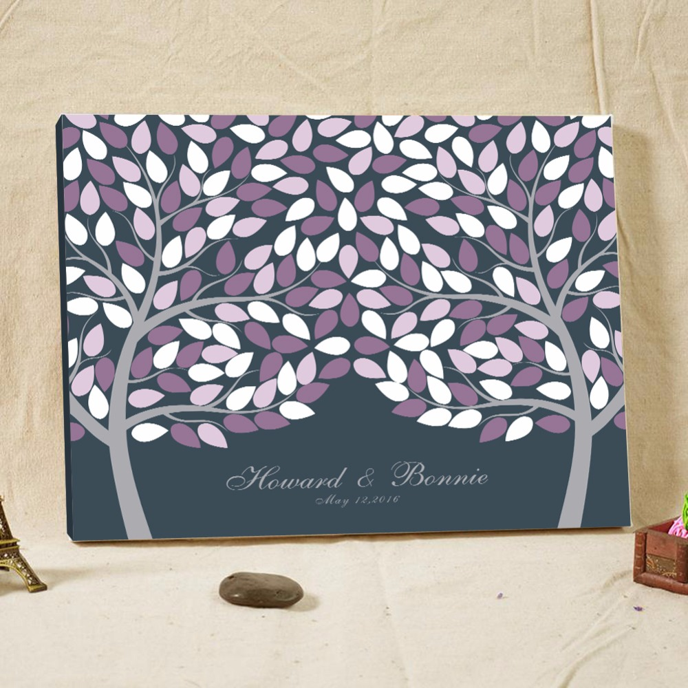 Personalized Wedding Signature Guest Book Name Date Canvas Fingerprint Tree Guest Book Custom Baby Shower Guest Book Party Decor