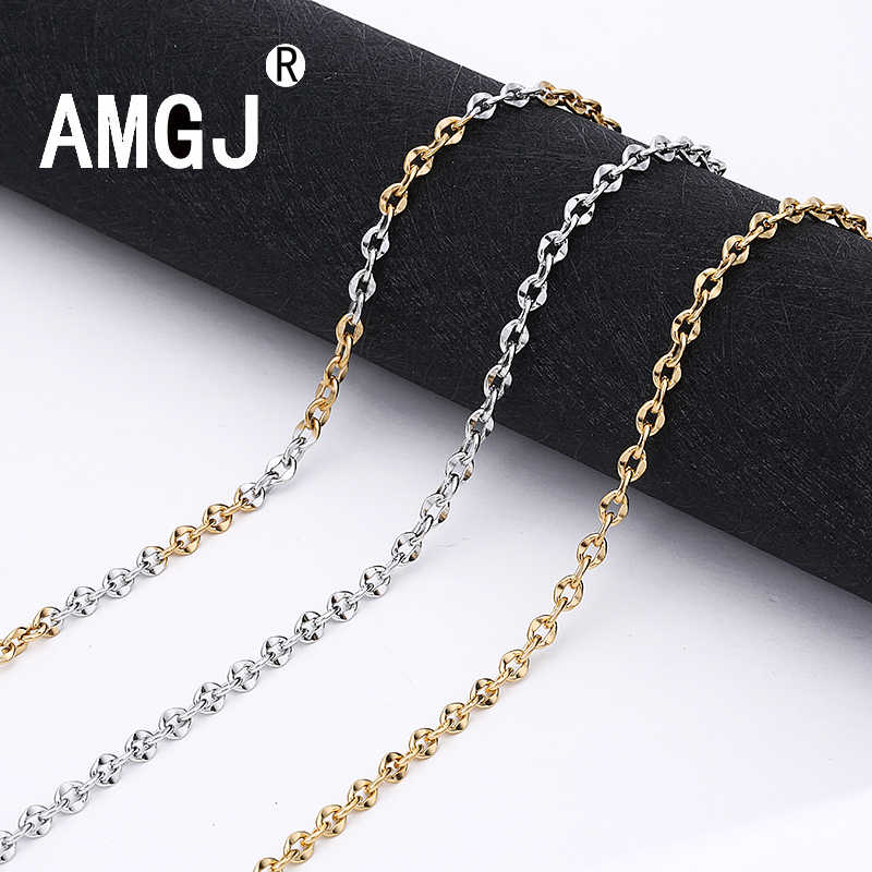 AMGJ 5mm Width Stainless Steel Cuban Chain Necklace for Women Wedding Gold/Silver Color Water Wave Chain Link Necklace 22""