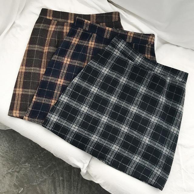 Women's Casual Skirts Japanese Kawaii Ulzzang Vintage Plaid High Waist A-line Skirt Female Korean Harajuku Clothing For Women 4