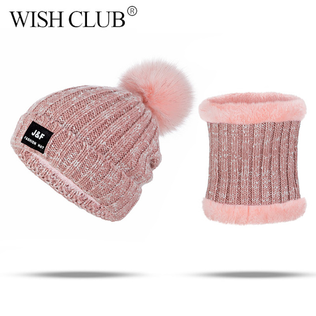 8147366b1ec WISH CLUB Fashion Design Warm Winter Hat And Scarf For Women Skullies  Beanies Casual Cotton Knitted Hat Scarf 2 Pieces Set