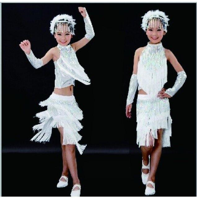 4a6923f9 New 2017 Hot Sale White Salsa Dresses For Girls Sequin Fringe Dress Latin  Dance Costume White Fringe Dress