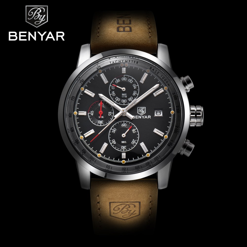BENYAR Brand Sport Watches Luxury Fashion Male Leather Waterproof Chronograph Quartz Military Watch Clock Men Relogio Masculino fashion luxury waterproof analog men sport watch chronograph mens leather watches male clock quartz wristwatch relogio masculino