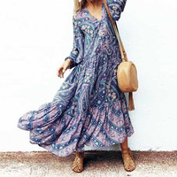Boho Chic Summer Beach Vintage Floral Print Pleated Long Dress Women 2018 Fashion V Neck Buttons Ladies Dresses Femme Vestidos