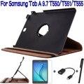 4 Em 1 Suporte Dobrável Caso Capa de Couro PU para Samsung Galaxy Tab 9.7 T550 T555 Tablet + Free Screen Protector + OTG + Stylus Pen