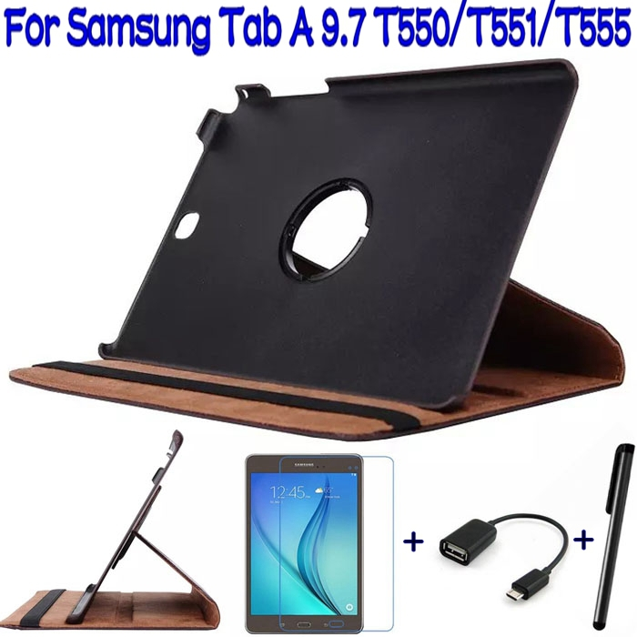 Подробнее о 4 In 1 Stand Folding PU Leather Cover Case for Samsung Galaxy Tab A 9.7 T550 T555 Tablet +Free Screen Protector+OTG+Stylus Pen 3 in1 top quality stand pu leather cover case for samsung galaxy tab s 10 5 t800 t801 t805 tablet free screen protector pen