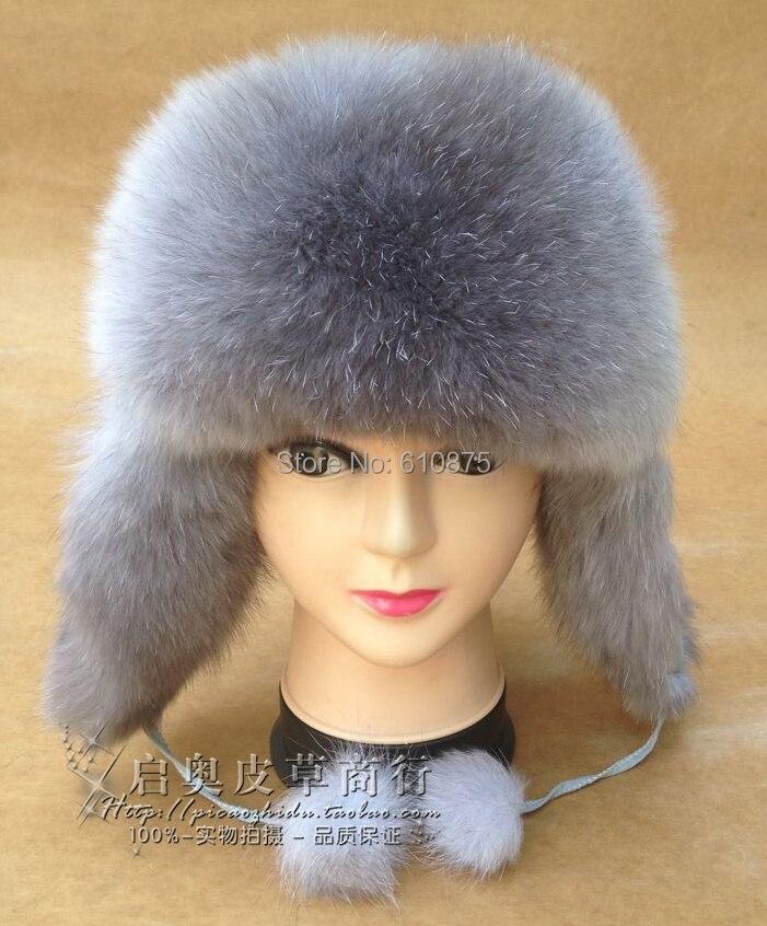 Boys High Quality 100% Fox Fur Bombers Caps Girls Winter Thick 100% Raccoon Fur Protect Ears Hats Children Autumn Warm Fur Hat