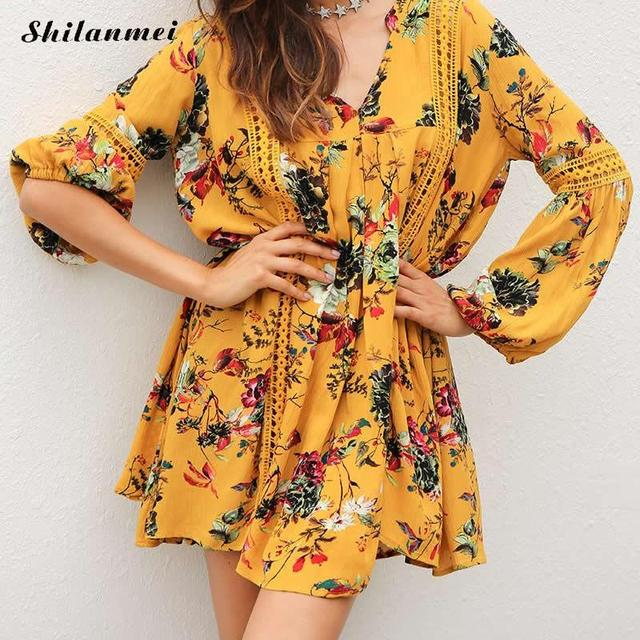 lace boho dress women yellow floral v neck bell sleeve