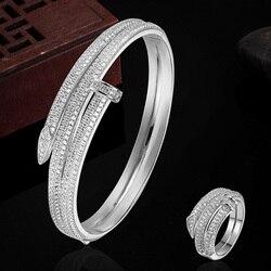 Luxury Brand Copper Gold-color Bracelet Anniversary Jewelry Europe Design Cubic Zircon Bracelet Bijoux Love Bangles Pulseira