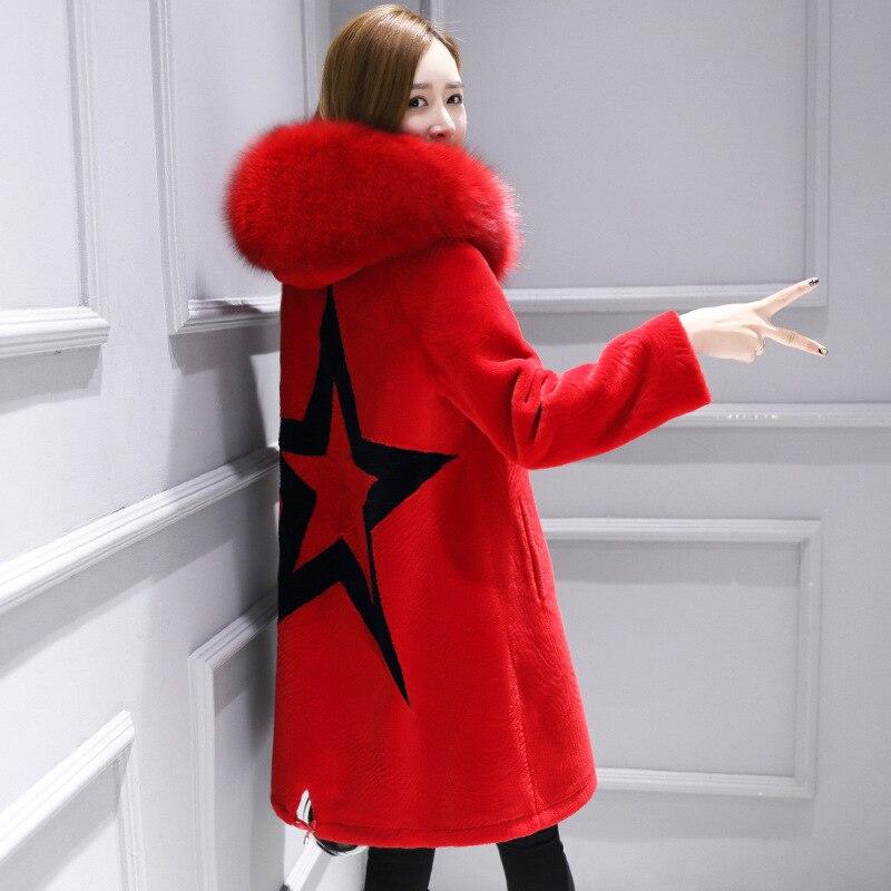 Fox Green De black 2017 Fourrure D'hiver Femmes red Col Tricoté Longue Veste Manteau Réel Naturel Mouton 100 Vêtements Avec Laine tFHTH7qw