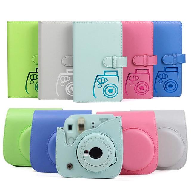 保護ケース防水puレザーバッグショルダーストラップ + 96 ポケットフォトアルバムフジフイルムインスタックスミニ 9/8/7sカメラ