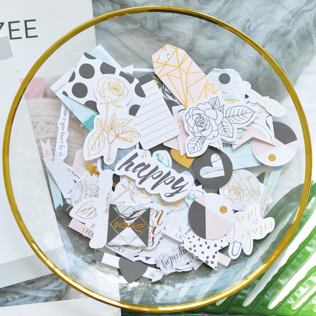 80pcs/pack Polka Dot Words Foil Gold Die Cut Paper for DIY Scrapbooking/Photo Album Decoration Card Making Crafts
