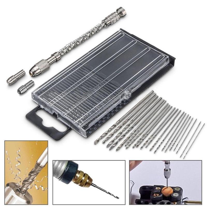 1Set Mini Micro Twist Drill Hss Bits With Semi-Automatic Handdrill Suit Micro Hobby Craft Jewelry Wood Mini Hand Drill Tools