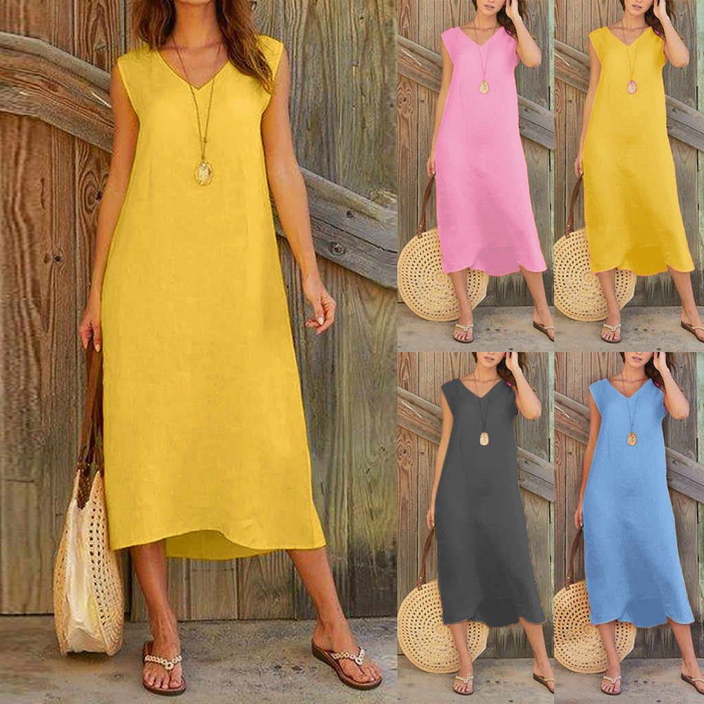 Women's Dress 2019 Semmer Fashion Women Dress Sleeveless V Neck Cotton Linen Casual Long Maxi Beach Dress