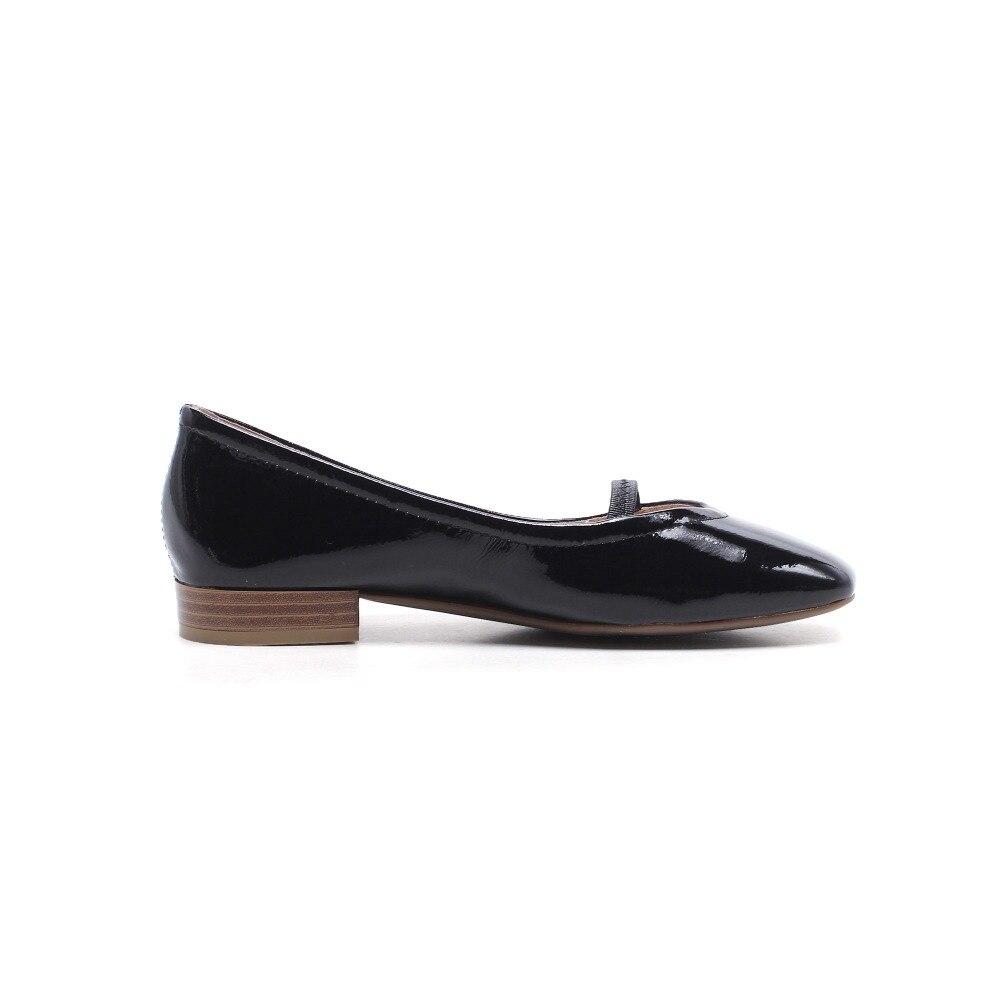 Chaussures Main L21 Carré Orteil vin Appartements Ballet Peu Noir 2018 La Danse En De Cuir Superstar À Occasionnel Style Rouge Sur Femmes Vache blanc Conduite Profonde Glissement Princesse wUgAxqgB