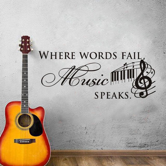 Musical Vinyl Wallpaper: Where Words Fail Music Speaks Vinyl Wall Stickers Quotes