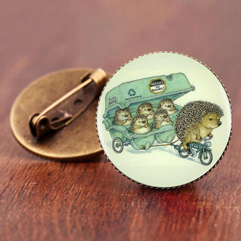 SUTEYI Cute Animals Hedgehog Brooches Pins Women Men Glass Brooch Fashion Wedding Jewelry Charm Party Gift