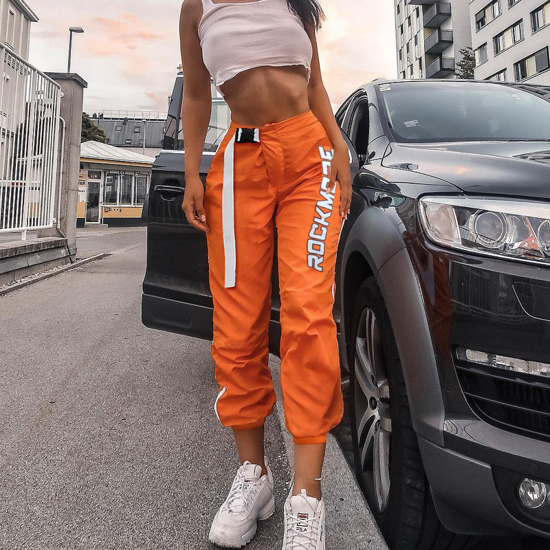 Streetwear Cargo   Pants   Women Casual Joggers Orange High Waist Loose Female Trousers Korean Style Ladies   Pants     Capri