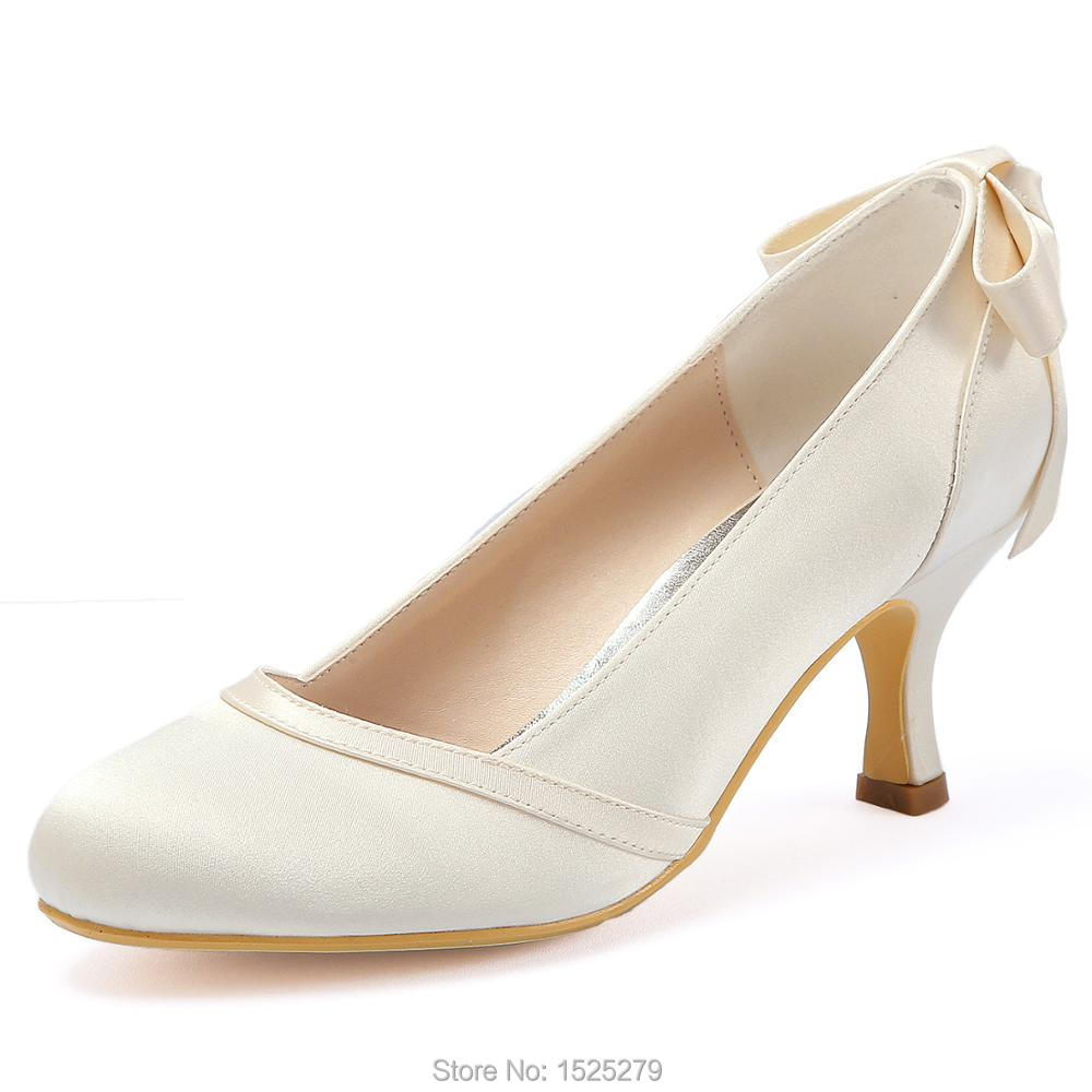 HC1804 Women Wedding Shoes Mid Heel White Ivory Bows Satin Round Closed Toe Lady Bride Bridesmaids Bridal Prom Party Pumps
