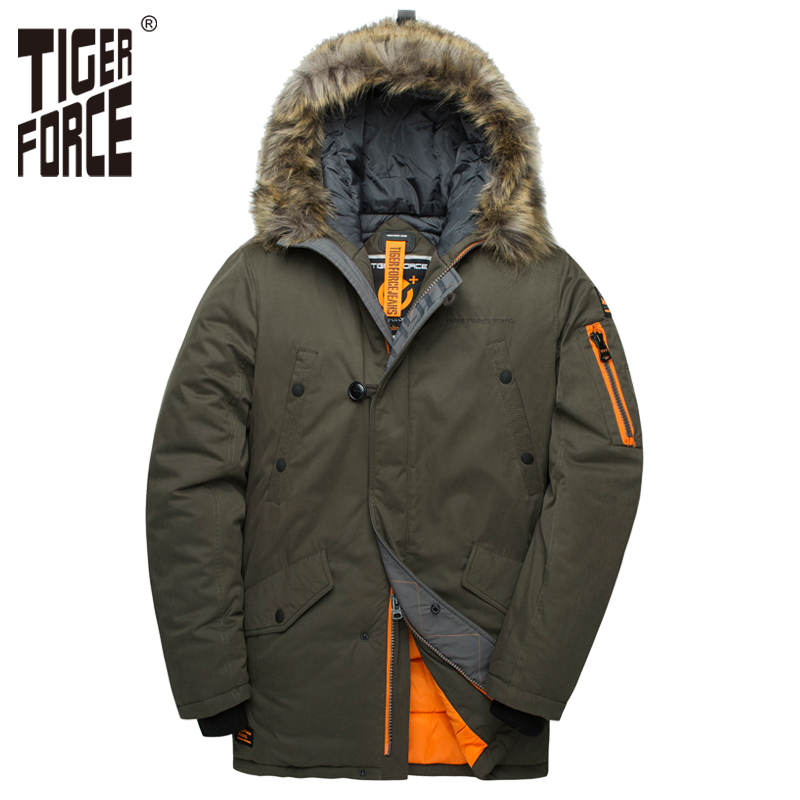 TIGER FORCE 2018 Men   Parka   Padded Coat Men's Winter Jacket Mens Thick   Parkas   Waterproof Artificial Fur Outerwear Winter Jacket