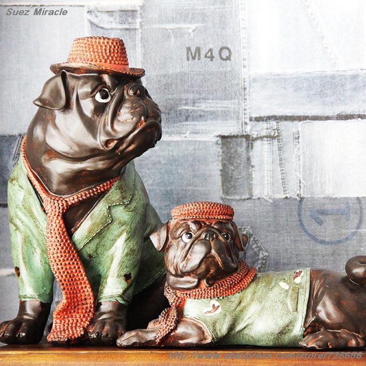 Distress Retro Glaze rășină BULL Câini sufragerie birou ornament - Decoratiune interioara