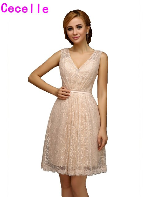 2019 Real Short Champagne Lace Bridesmaid Dresses With Straps V Neck Summer Casual Informal Wedding Bridesmaid Gowns Robes