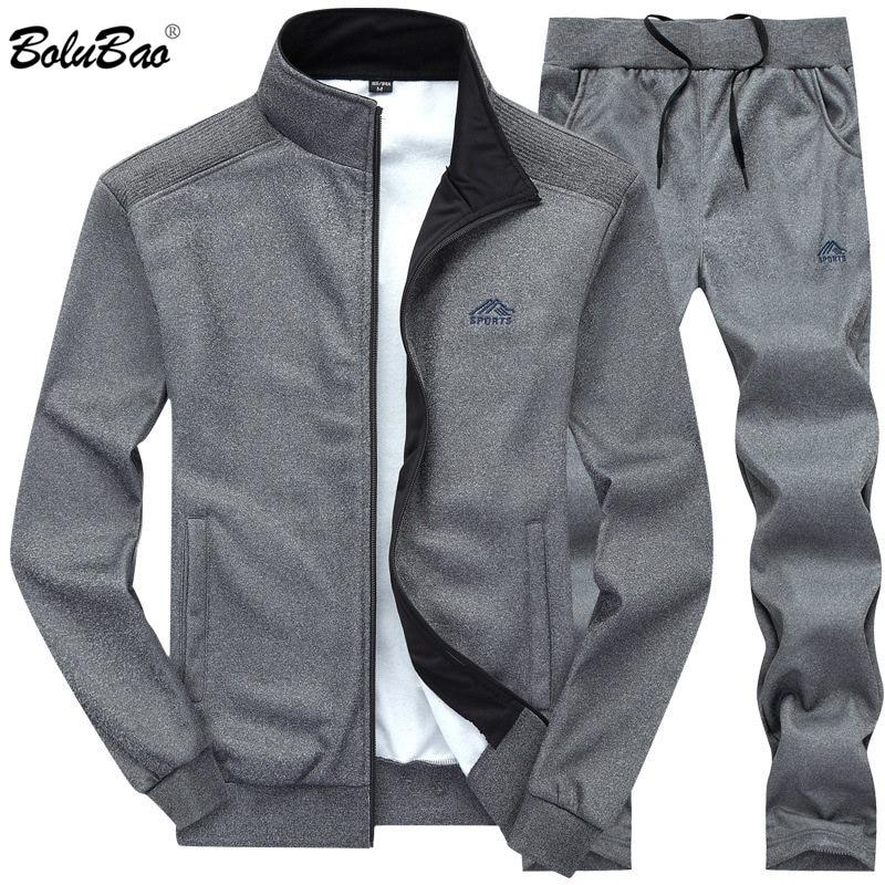 BOLUBAO Men Tracksuits Solid Color Sportswear 2019 Autumn Men's Jacket + Pants Tracksuit Male Sweatshirt Casual 2 Piece Set