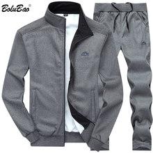 b225b6802c4dd BOLUBAO mężczyźni dresy jednolity kolor odzieży sportowej 2019 jesień mężczyźni  kurtka + spodnie dres męska bluza z kapturem na .
